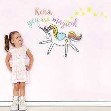 Personalised Magical Unicorn Wall Sticker Girls Room Decor Wall Decals Ebay