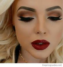 sunset eye makeup and red lips