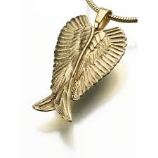 angel wing gold pendant necklace for ashes