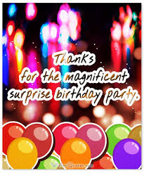 amazing thank you messages after surprise birthday party
