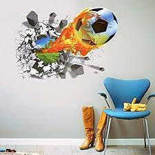 Amazon Com Mr S Shop 3d Foodball Wall Stickers Pvc Soccer Stickers Home Decor Removable Kids Room Decals Home Kitchen