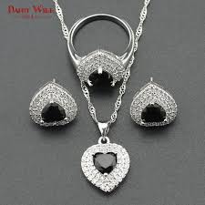 silver color bridal jewelry sets for