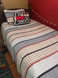 boy s train twin reversible bedding set