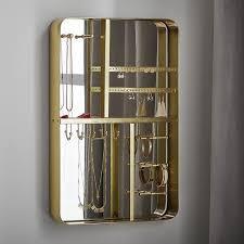 mirrored wall mount jewelry organizer