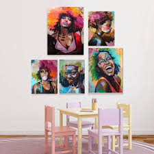 Afro Portrait Wall Art Canvas Print Multicolor African Oil Painting Room Home Ship With Free Shipping Worldwide Weposters Com