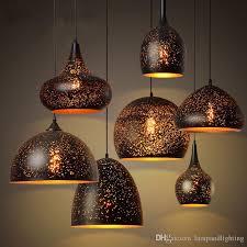 rust effect carved metal pendant lights