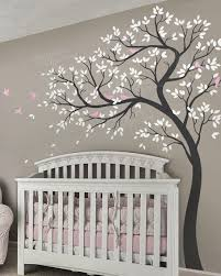 Natural Nursery Tree With Birds Wall Decal Nursery Wall Decals Girl Nursery Wall Decals Tree Nursery Wall Murals