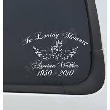 In Loving Memory Of Wings Roses Car Laptop Decal