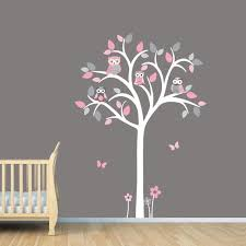 White Tree Wall Decal Girl Owl Tree Wall Decal Pink And Grey Etsy