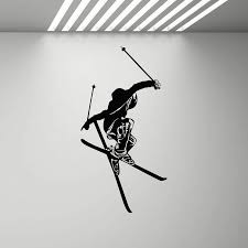 Ski Wall Decal Skier Poster Gym Mural Winter Games Skiing Sports Vinyl Wall Sticker Home Decor Teen Room Living Room Z726 Wall Stickers Aliexpress