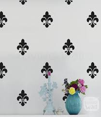 Fleur De Lis Monochrome Pattern Wall Decal Vinyl Sticker Etsy