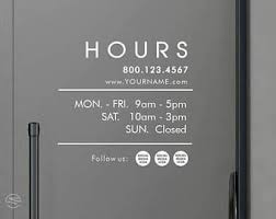 Business Hours Decals Social Media Decals Social Media Stickers Store Hours Decals Office Hours Decals H Store Hours Sign Door Signage Business Hours Sign