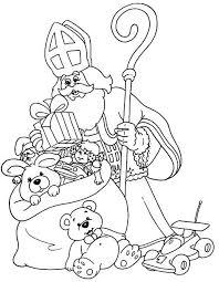 Sinterklaas Geeft Kadootjes Kleurplaat Om Te Kleuren Sinterklaas