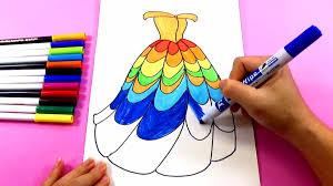 Baby Learn Drawing And Coloring - BÉ TẬP VẼ_Hướng dẫn bé vẽ váy công chúa  đơn giản _HOW TO DRAW PRINCESS DRESS
