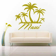 Maui Hawaii Palm Tree Island Vinyl Car Window Decal Sticker