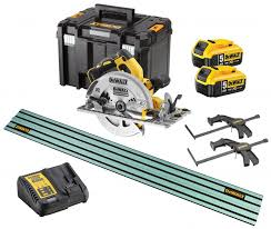 Dewalt Dcs572 18v Xr 184mm Brushless Circular Saw 2 X 5 0ah Batts Charger T Stak Case 1 4m Guide Rail Clamps Dewdcs572kit1av At D M Tools