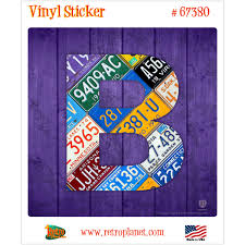 Letter B License Plate Style Vinyl Sticker At Retro Planet