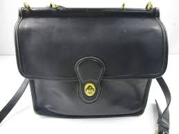 vintage coach black leather shoulder