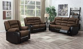 walter 3 pc leather reclining sofa