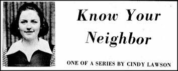 Know Your Neighbor, by Cindy Lawson 1971 Galax Gazette