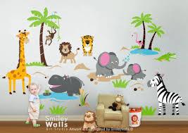Safari Jungle Animals Wall Decal Monkey Giraffe Elephant Lion Zebra Smileywalls On Artfire