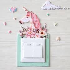 Animal Unicorn Cover Cartoon Room Decor 3d Wall Pu On Off Switch Luminous Light Switch Outlet Wall Sticker Kids Room Derection Wall Stickers Aliexpress