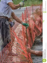 Construction Workers Set Orange Safety Fence Stock Image Image Of Industry Industrial 42257739