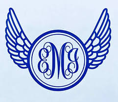 Custom Wings Monogram Decal Personalized Initial Sticker For Walls Tumblers Laptops Car Windows Choose Size And Color And Letters Wickedgoodz