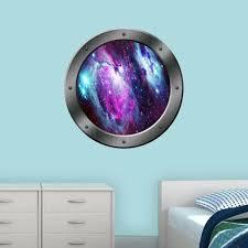 Zoomie Kids Mayes Space Nebula Window Porthole Framed Wall Decal Wayfair