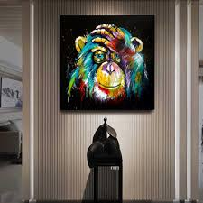 2020 Watercolor Thinking Monkey Wall Art Canvas Prints Abstract Animals Art Canvas Paintings Wall Decor Pictures For Kids Room From Georgen 23 02 Dhgate Com