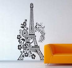 Floral And Musical Eiffel Tower Wall Sticker Tenstickers