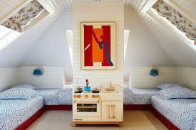 Kate Rheinstein Brodsky East Hampton Home Krbnyc Bunk Bedroom Attic Play Kids Kitchen Abstract Art Floral Roman Shades Sun Light Katie Considers