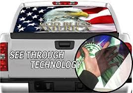 Amazon Com P327 American Flag Eagle Tint Rear Window Decal Wrap Graphic Perforated See Through Universal Size 65 X 17 Fits Pickup Trucks F150 F250 Silverado Sierra Ram Tundra Ranger Colorado Tacoma 1500