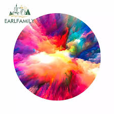 Earlfamily 13cm X 13cm For Art Rainbow Explosion Artist Car Decal Vinyl Material Car Styling Car Stickers Pull Flower Decoration Car Stickers Aliexpress