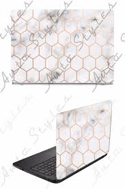 White Marble Gold Honeycomb Laptop Skin Vinyl Decal Sticker Apple Toshiba Dell Apple Stickers Vinyl Decal Stickers Computer Sticker