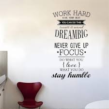 Work Hard Vinyl Quote Wall Stickers Motivational Decals Kids Study Wall Quotes Diy Office Wall Decals Wall Quotes Decals
