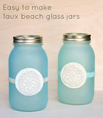 mason jar lanterns with a faux beach