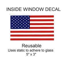 Usa United States Flag Inside Window Decal 5 X 3 Etsy