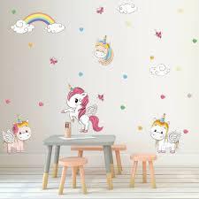 Cute Unicorn Wall Sticker Set Girls Kids Bedroom Rainbow Mystical Decal Decor For Sale Online Ebay