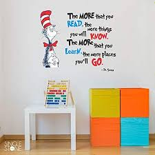 Amazon Com N Sunforest The More That You Read Dr Seuss Cat In Hat Quote Wall Decal Vinyl Words Home Kit Vinyl Wall Decals Wall Quotes Decals Wall Decals