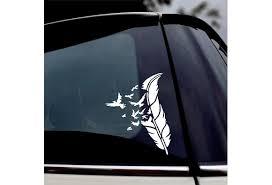 Feather Bird Decal Laptop Sticker Car Truck Bumper Window Door Cup Sign Logo Vinyl Decal Wish