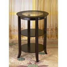 espresso glass top end table w 2