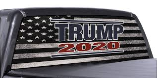 Fgd Trump 2020 Perforated Rear Truck Window Black White Distressed American Flag Decal Universal Family Graphix Llc