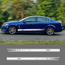 2 Pcs Ss Vinyl Car Styling Side Stripes Skirt Sticker Decals Wraps Body Stickers For Chevrolet Ss Car Stickers Aliexpress