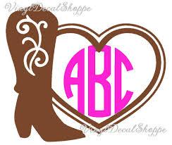 Custom Boot Monogram Car Decal Monogram Sticker Cowgirl Monogram Country Girl Monogram Monogram Sticker Monogram Cute Car Monogram