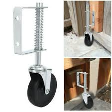 4 Inch Spring Loaded Gate Caster Rubber Wheel 125 Lb Wood Or Chain Link Fences Ebay