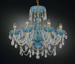 8 arm blue bohemian crystal chandelier