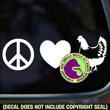 Peace Love Chicken Vinyl Decal Sticker Hen Chickens Farm Car Window Rooster Sign For Sale Online