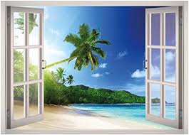Amazon Com West Mountain Tropical Beach View Window 3d Wall Decal Art Removable Wallpaper Mural Sticker Vinyl Home Decor W32 Small 24 W X 17 H Home Kitchen