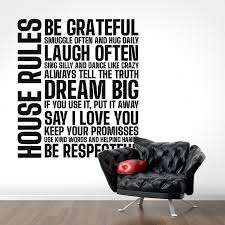 House Rules Decal Decals For Home Decor Lettering Typography Wall Sticker Dream Be Grateful Hug Snuggle Keep Your Promises